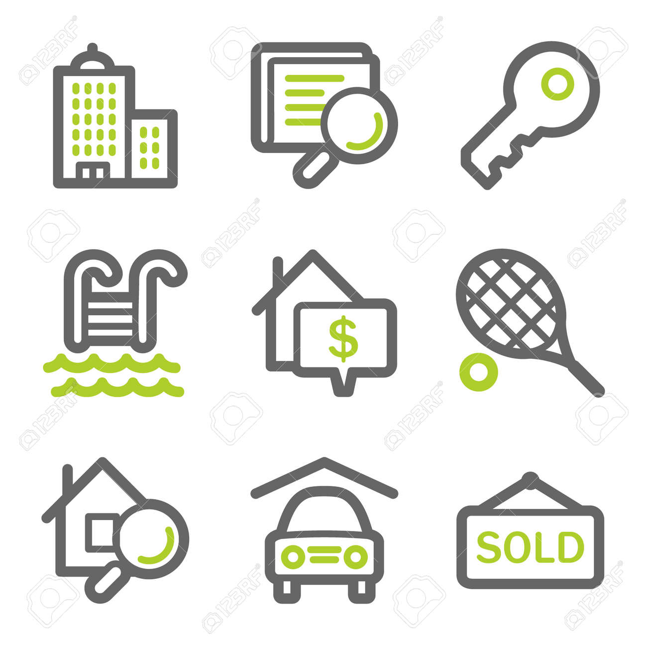 Real estate web icons, green and gray contour series Stock Vector - 8486898