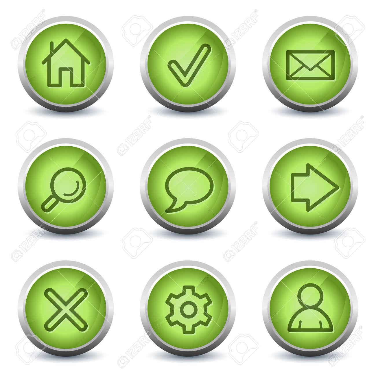 Basic web icons, green glossy set Stock Vector - 8500202
