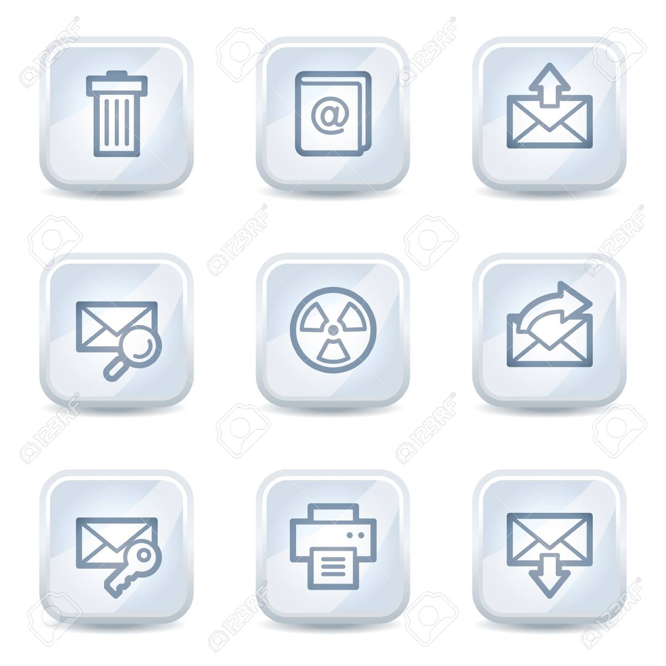 E-mail web icons set 2, white glossy buttons Stock Vector - 8500312