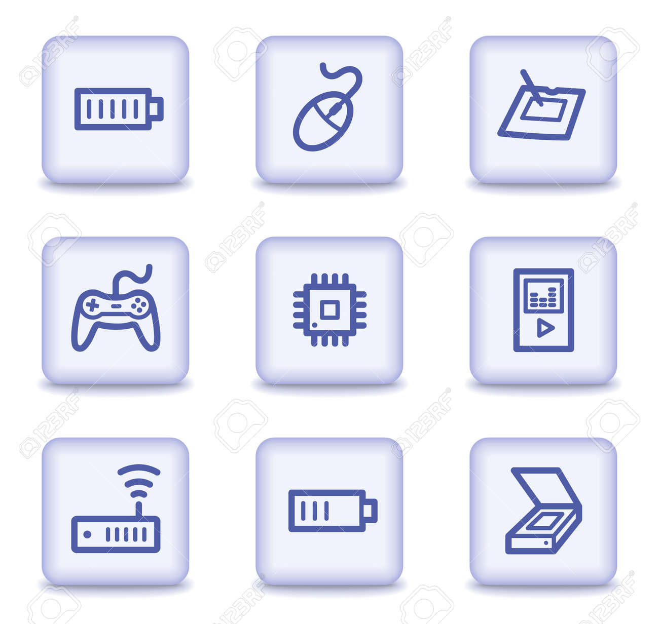 Electronics web icons set 2, light violet glossy buttons Stock Vector - 9324045