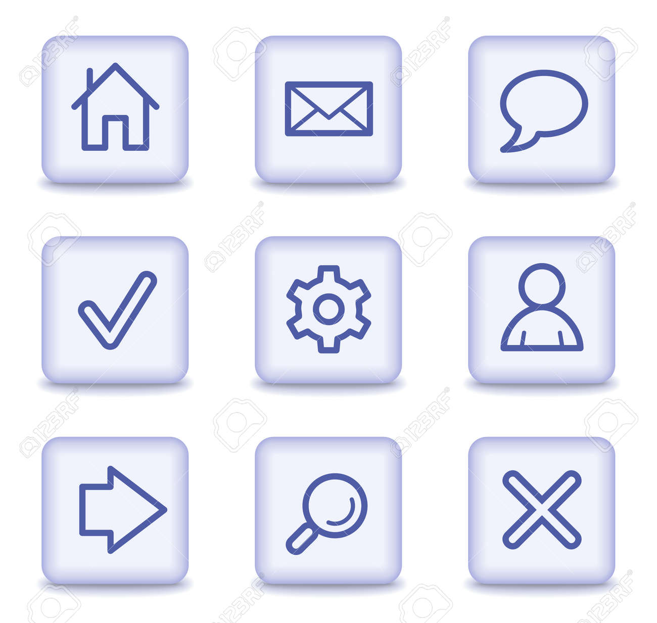 Basic web icons, light violet glossy buttons Stock Vector - 9323928