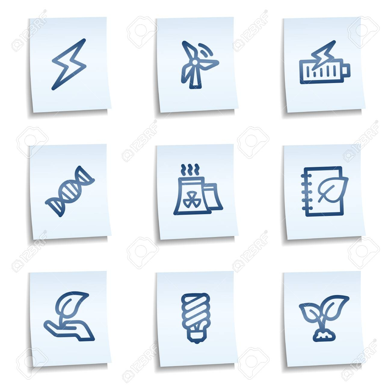 Ecology web icons set 5, blue notes Stock Vector - 9805255