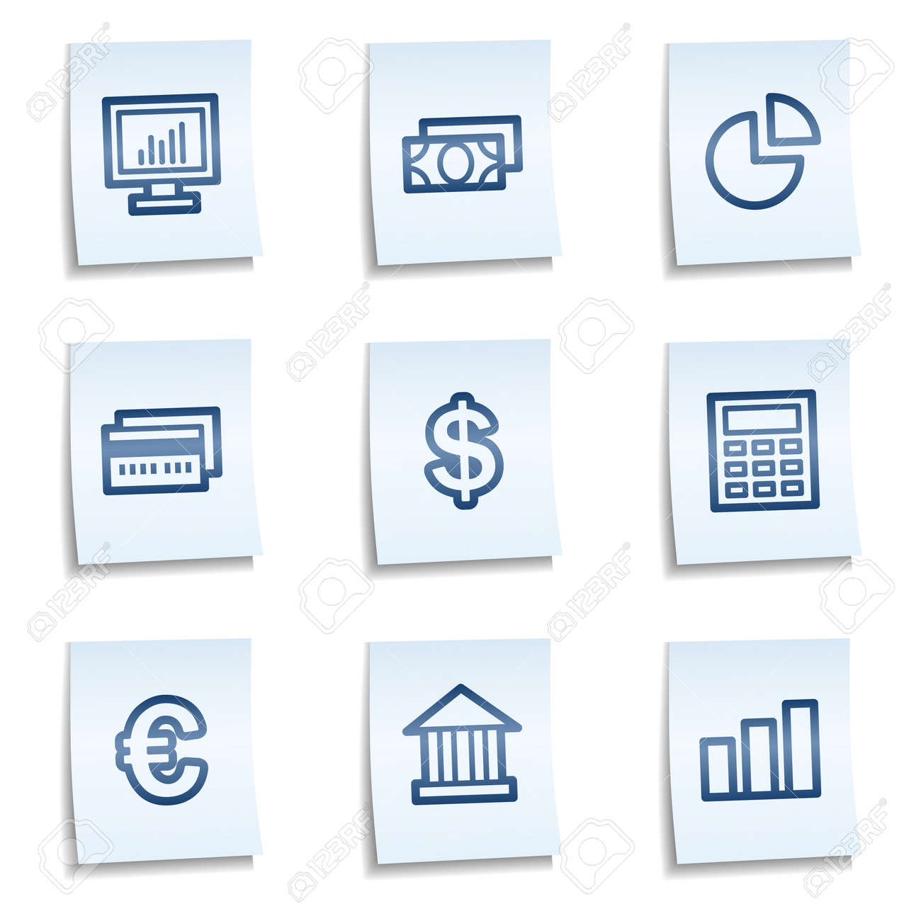 Finance web icons set 1,  blue notes Stock Vector - 9805248