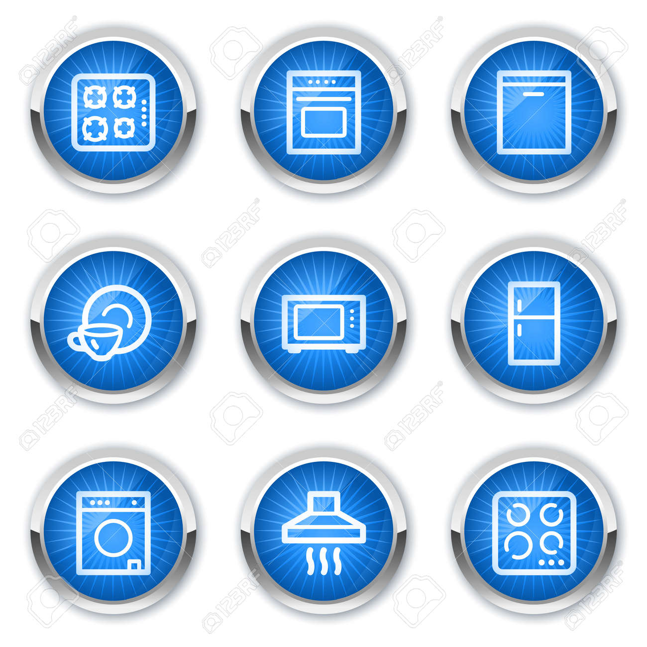 Home appliances web icons, blue buttons Stock Vector - 10659446