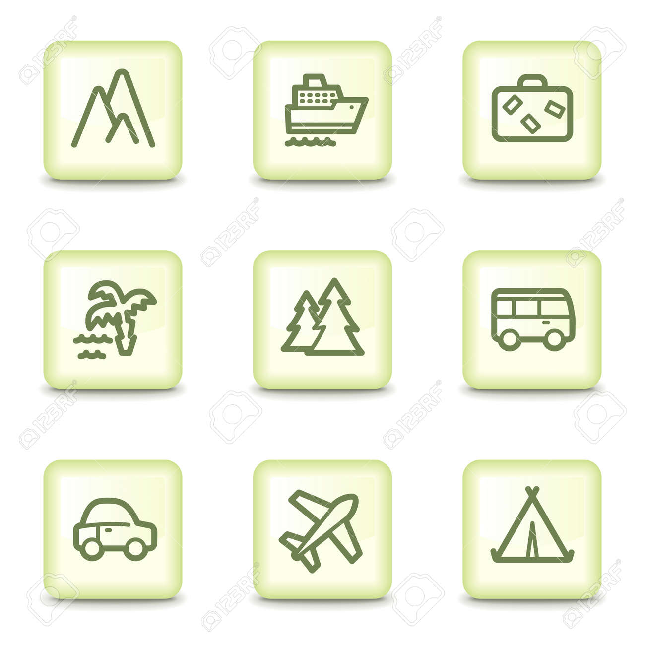 Travel web icons set 1, salad green buttons Stock Vector - 11379801