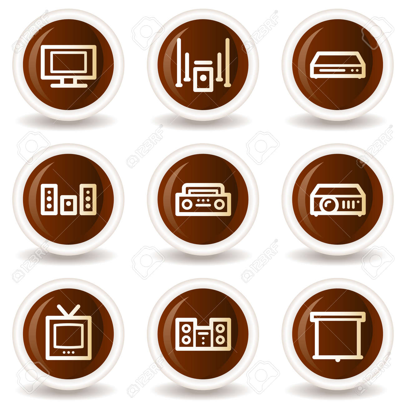 Audio video web icons, chocolate buttons Stock Vector - 20302118