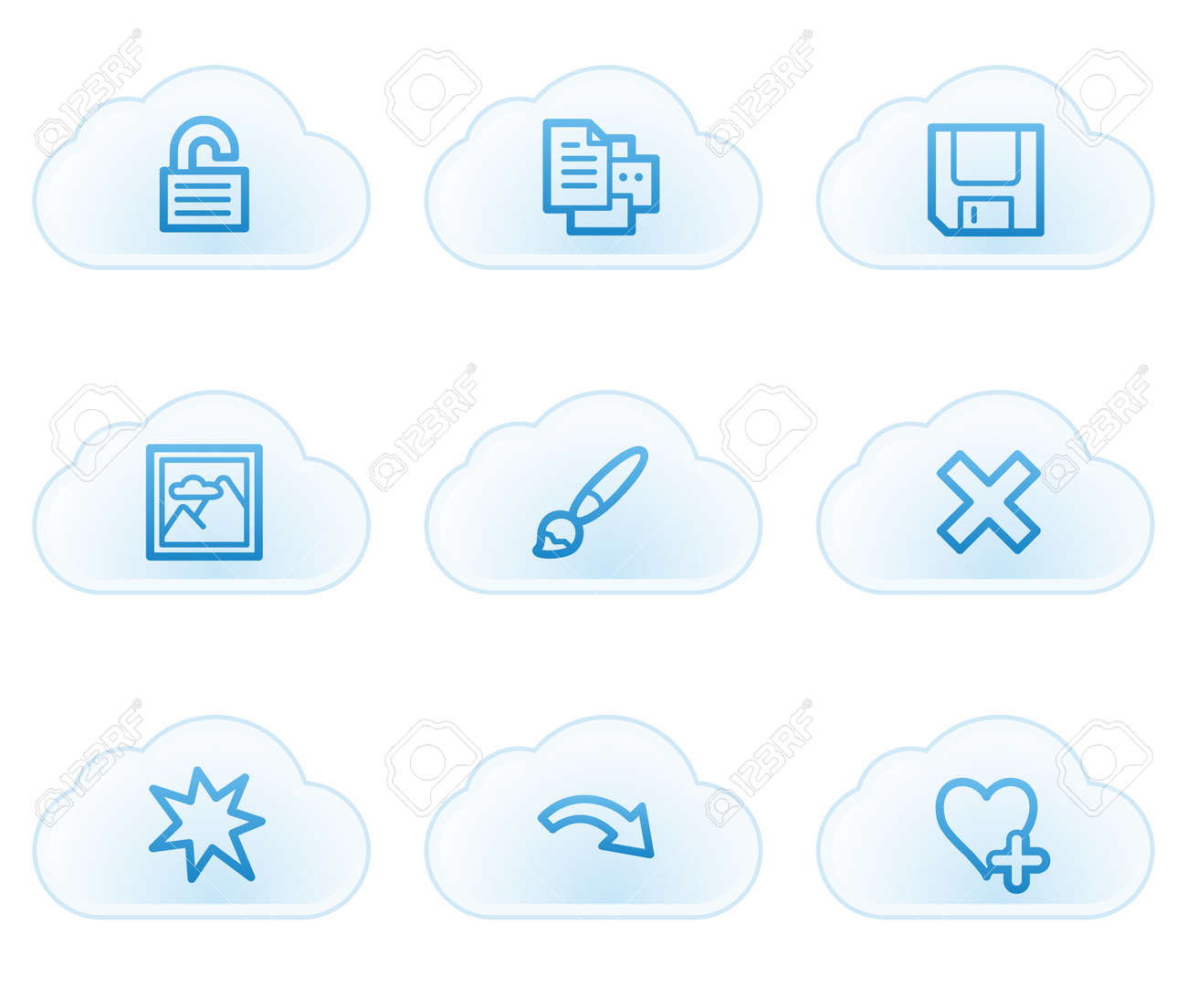 Image viewer web icons set 2, cloud buttons Stock Vector - 21702938