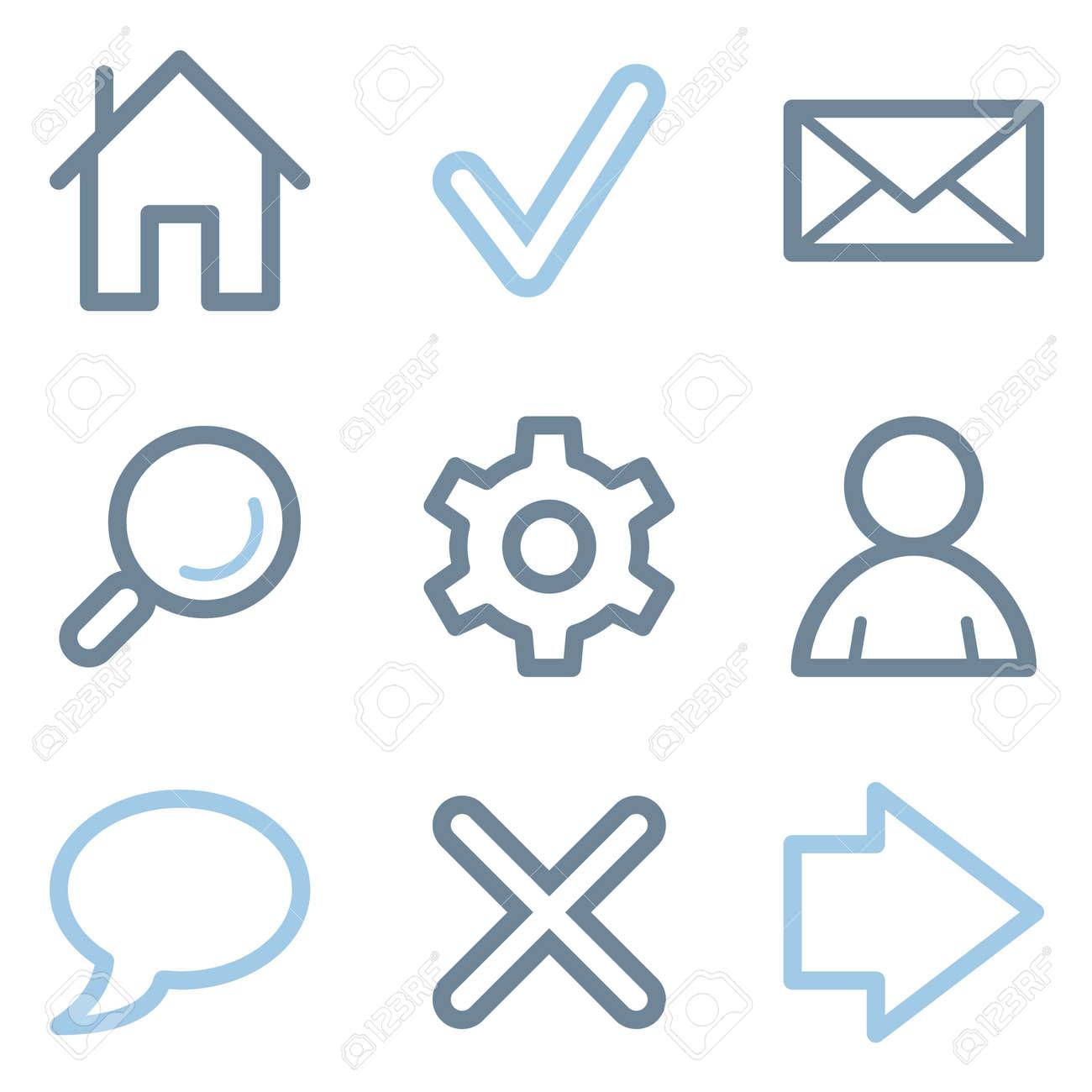 Web icons, blue line contour series Stock Vector - 22156454