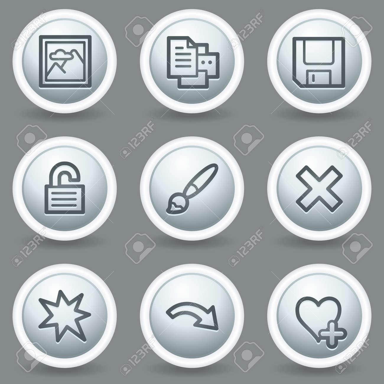 Image viewer web icons set 2, circle grey matt buttons Stock Vector - 23014402