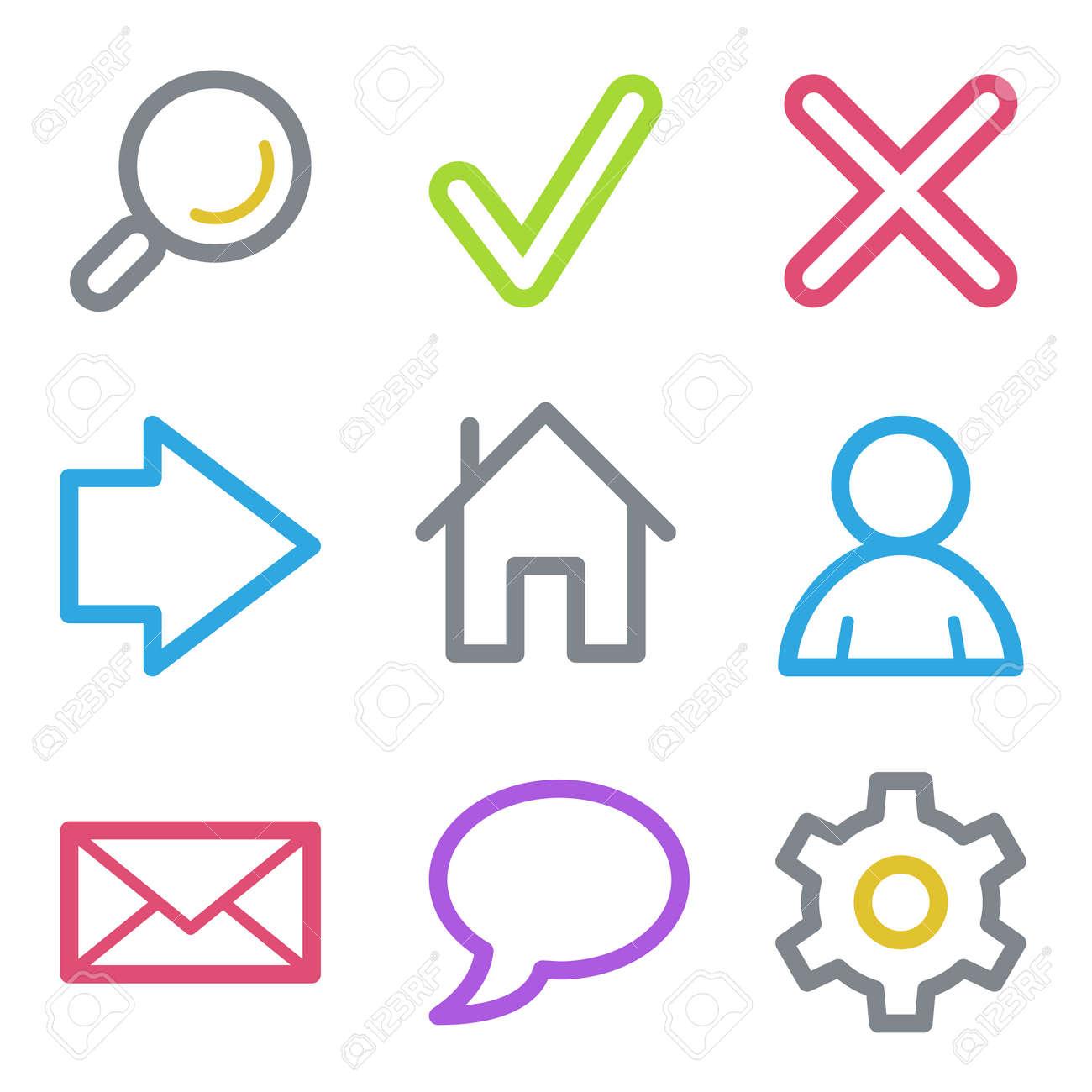 Web icons, color line contour series Stock Vector - 23053167