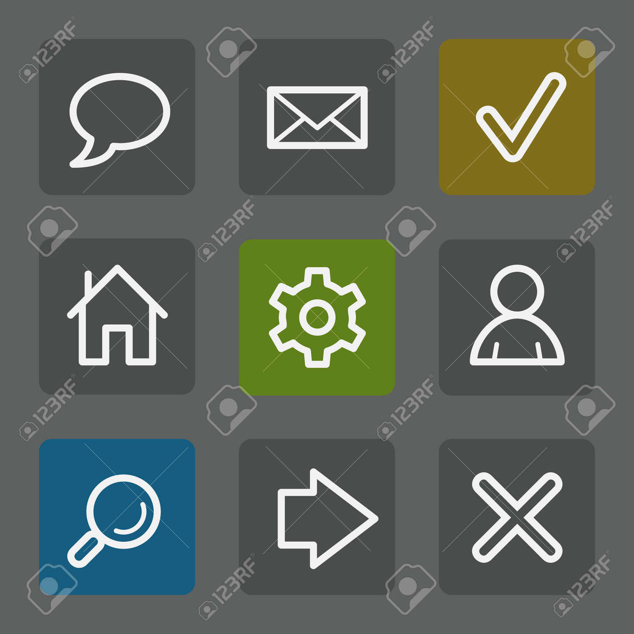 Basic web icons, flat buttons Stock Vector - 23159562