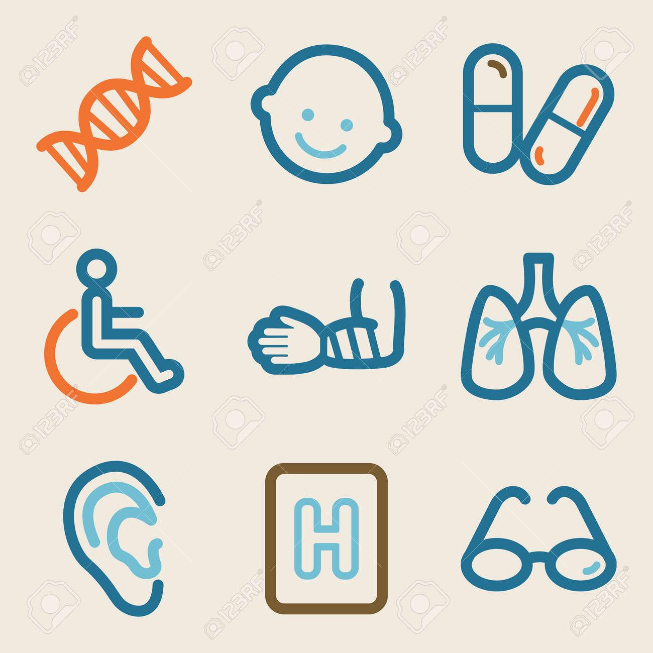 Medicine web icons, vintage series Stock Vector - 25495161