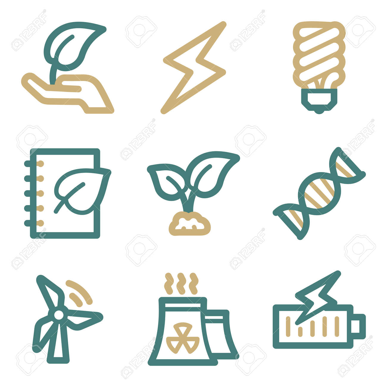 Ecology web icons, two color series Stock Vector - 25592871