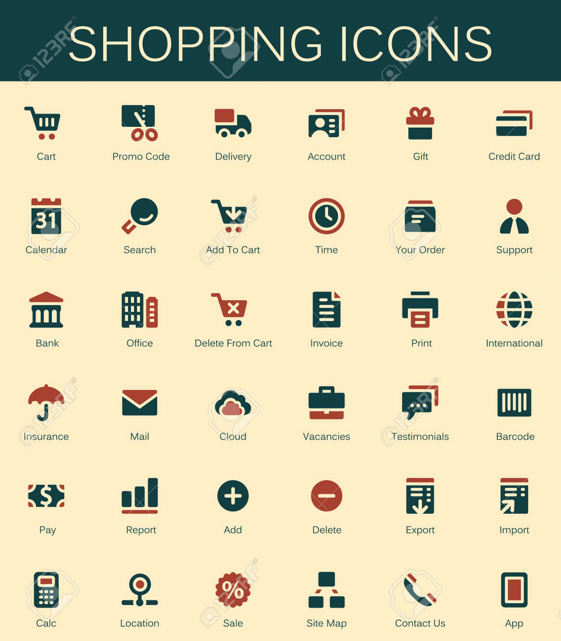Shopping Services And Finance Tools Icons. Modern Vector Pictograms Stock  Vector   67838813