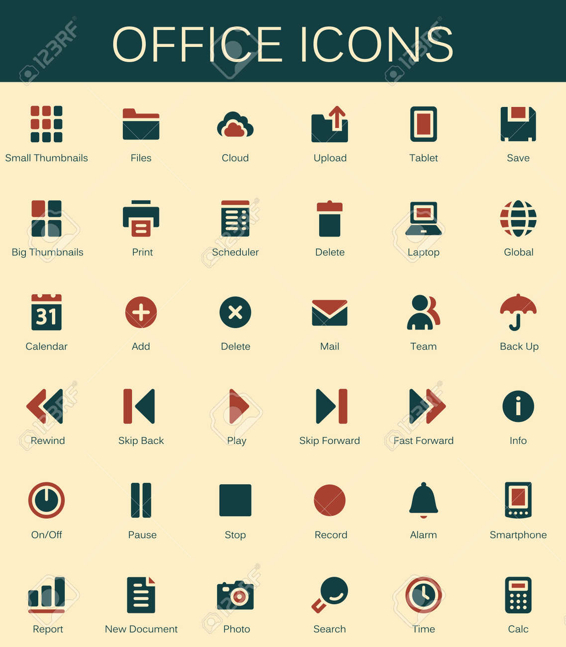 Back Office Services And Documents Tools Icons. Modern Vector Pictograms  Stock Vector   67838971