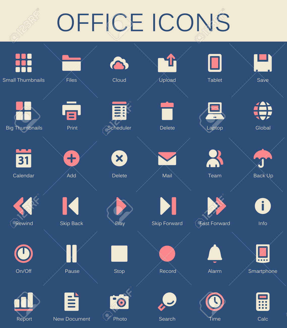 Back Office Services And Documents Tools Icons. Modern Vector Pictograms  Stock Vector   67861421