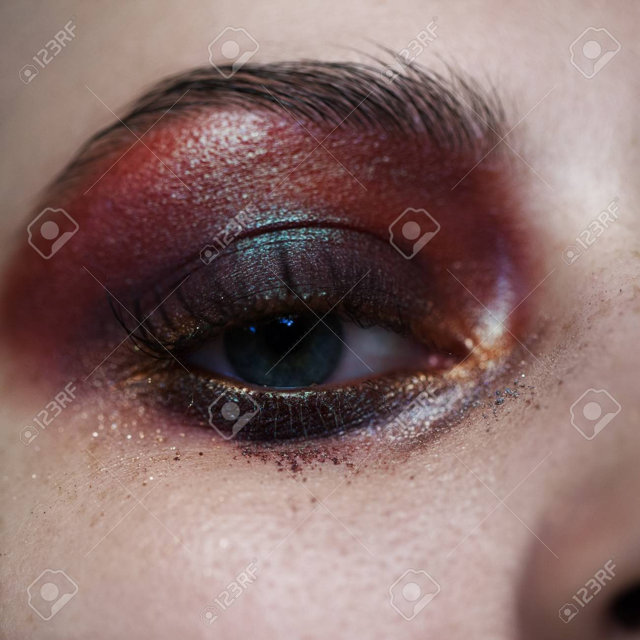 Colorful Eye Makeup Closeup Stock Photo Picture And Royalty Free