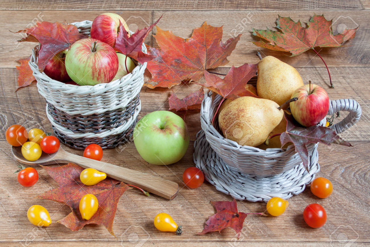 Autumn Still Life Fruits Vegetables And Maple Leafs Gifts Stock Photo Picture And Royalty Free Image Image 88758365