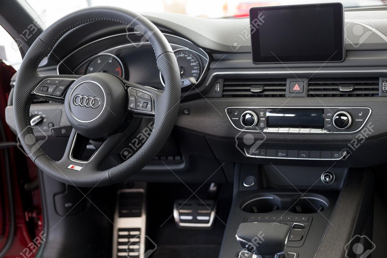 Russia, Izhevsk - September 11, 2019: Audi showroom. Interior of new modern Audi A4 Quattro. Volkswagen Auto Group. Famous world brand. - 158787878