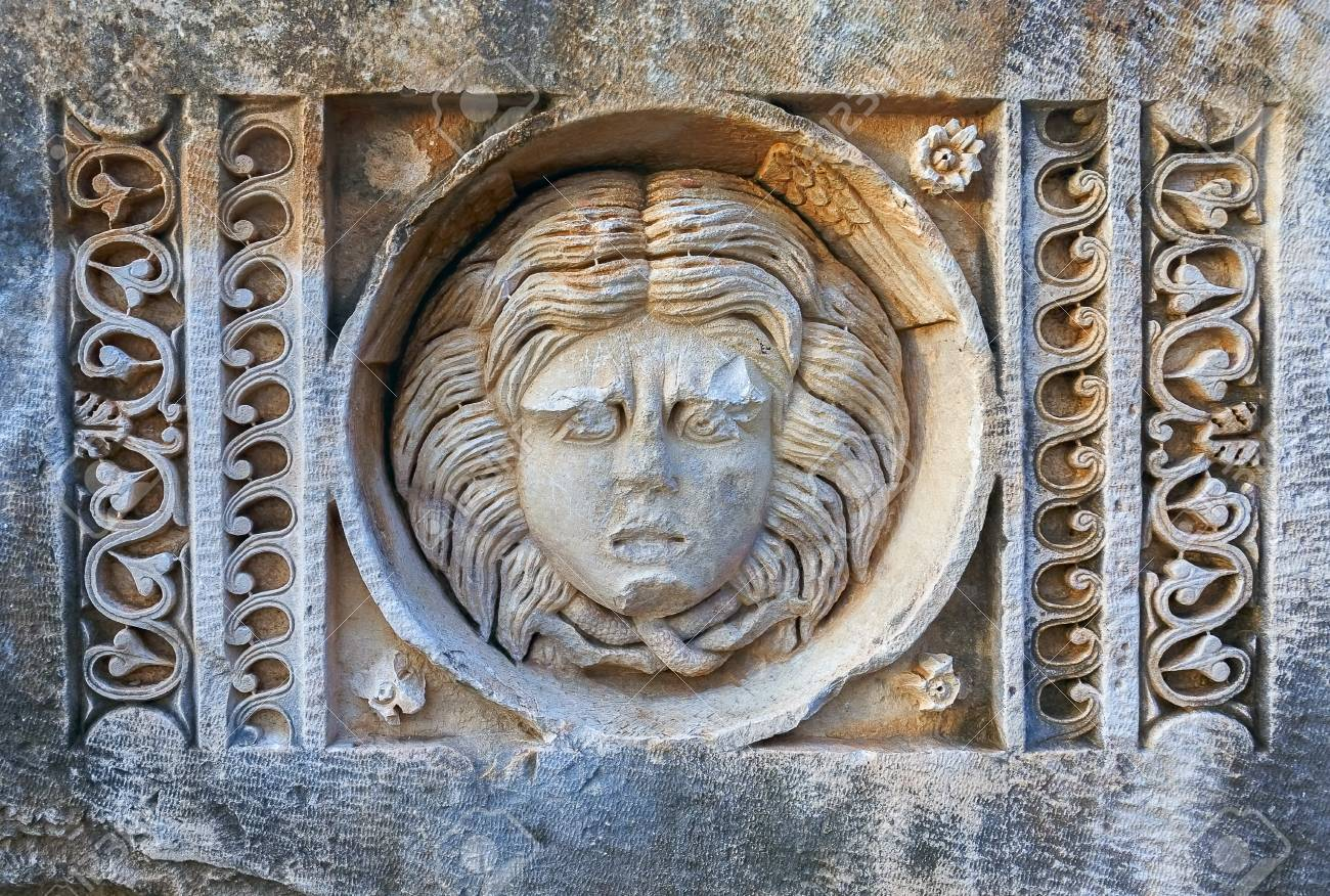 The roman theatre mask is carved in stone the mask in ancient