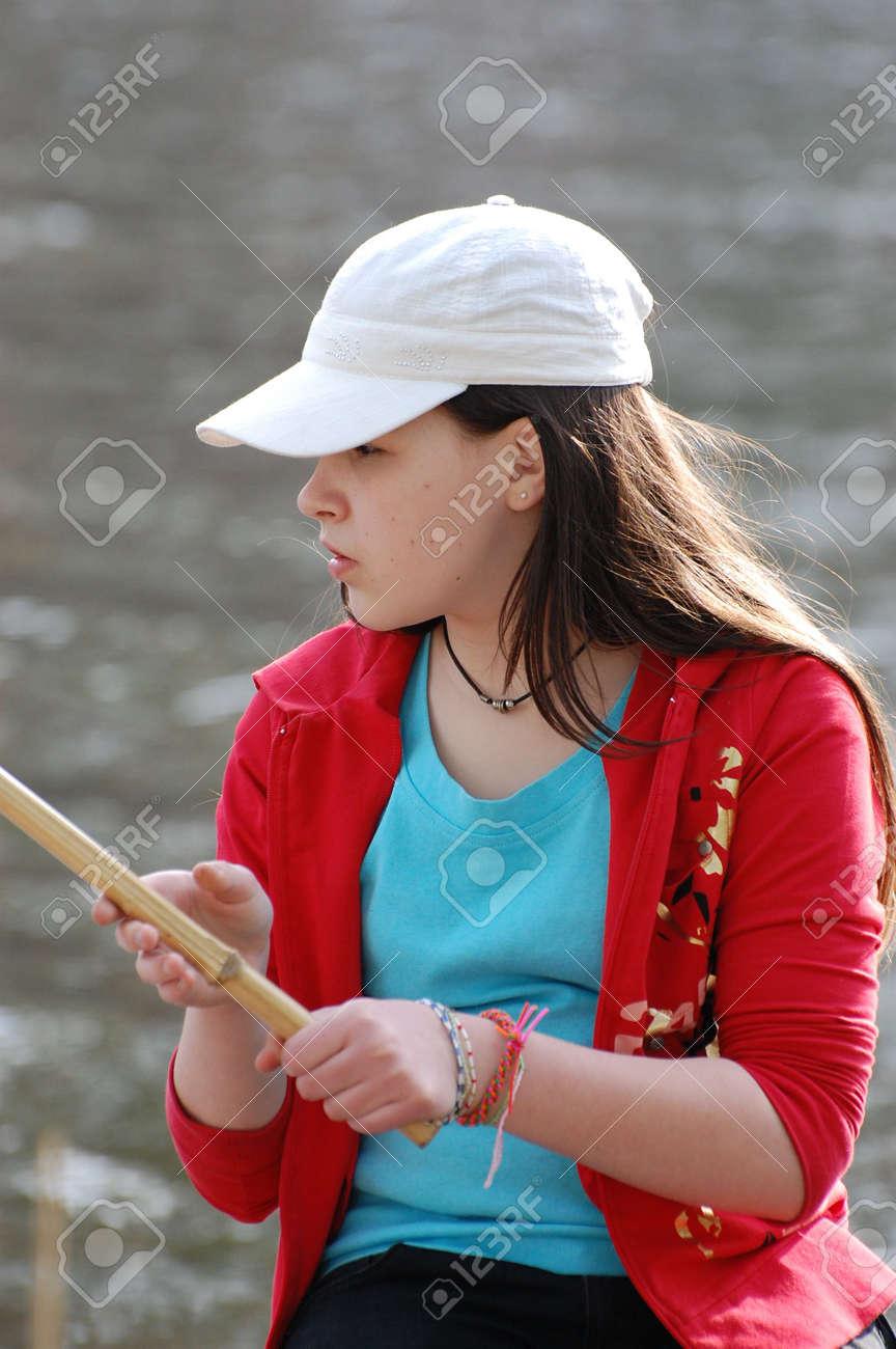 Girl fishing Stock Photo - 2946219