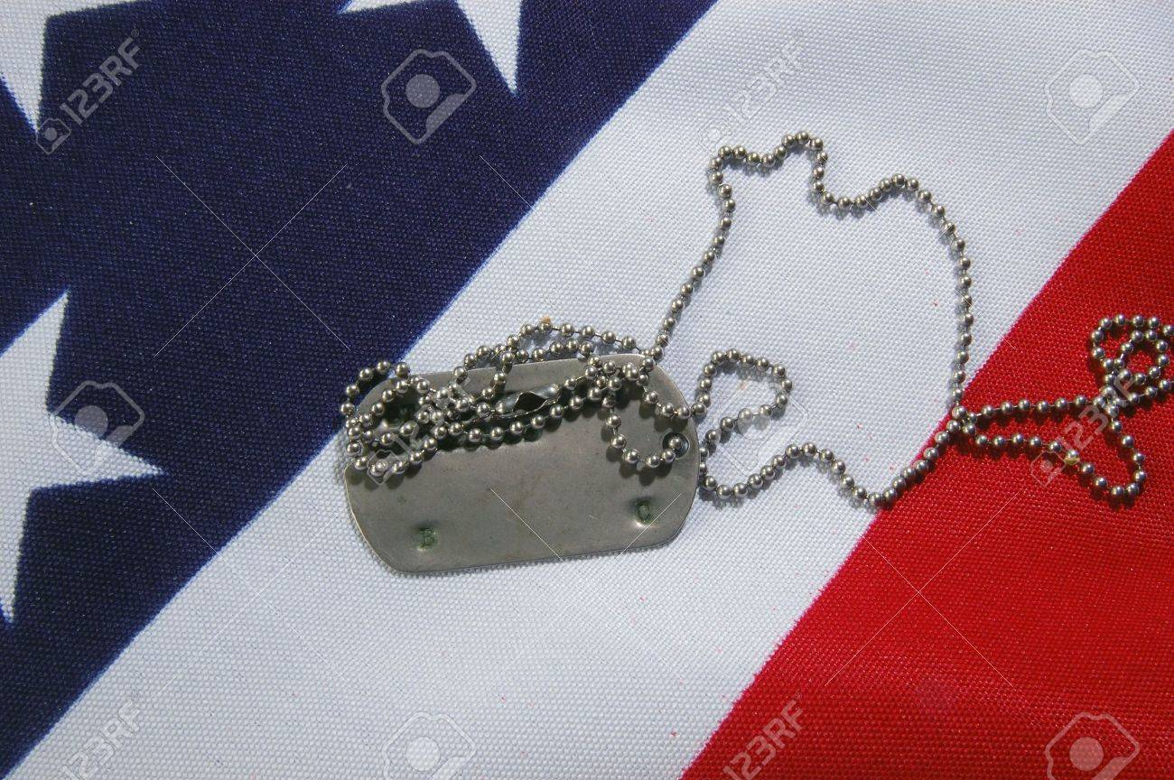 Dog tag on American Flag.Freedom is not free Stock Photo - 7515781