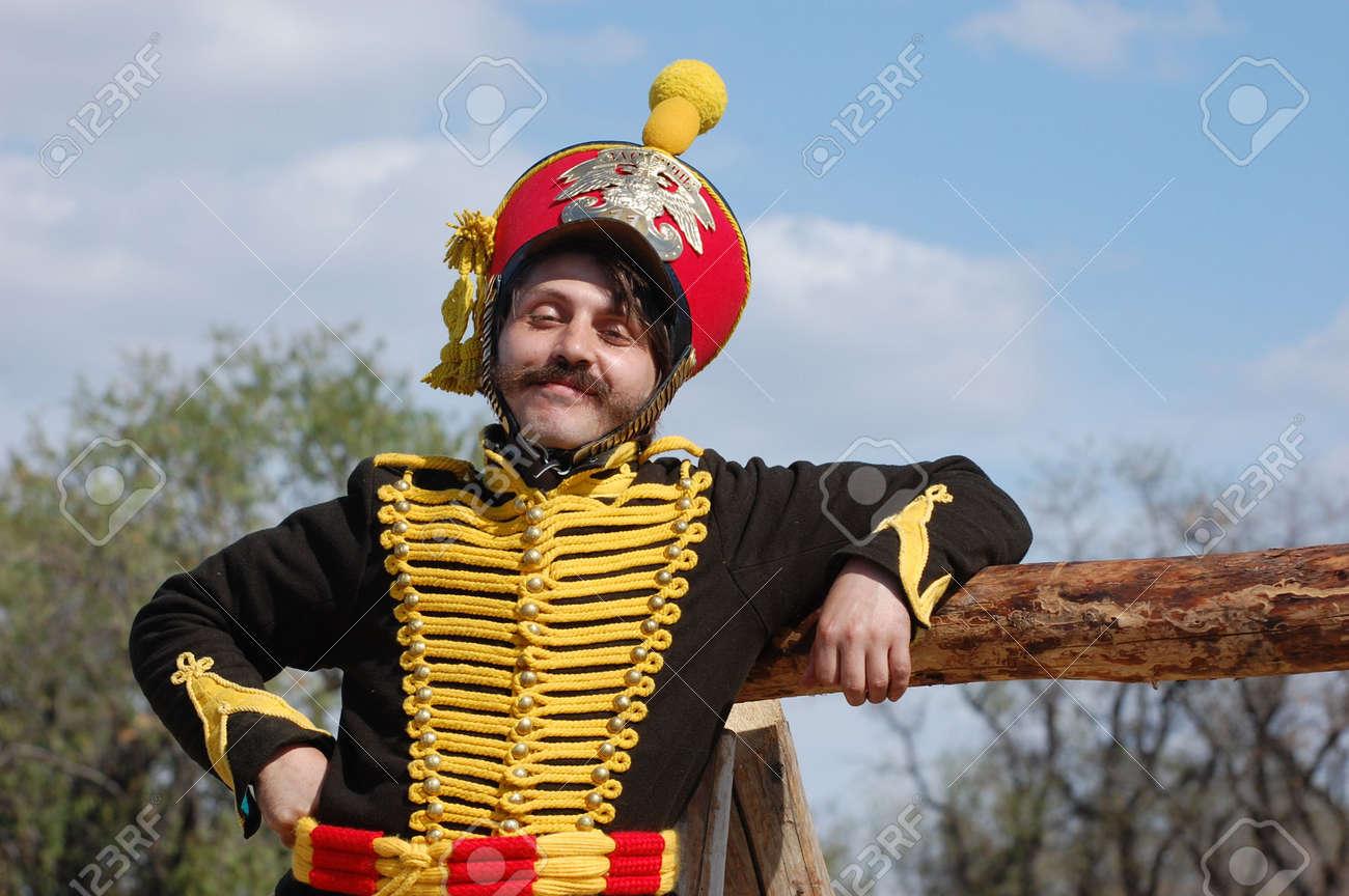 CRIMEA, UKRAINE - SEPTEMBER 26: Member of military history club ALMA wears Russian historical uniform during historical reenactment of Crimean War September 26, 2009 , Crimea, Ukraine  Stock Photo - 7665930