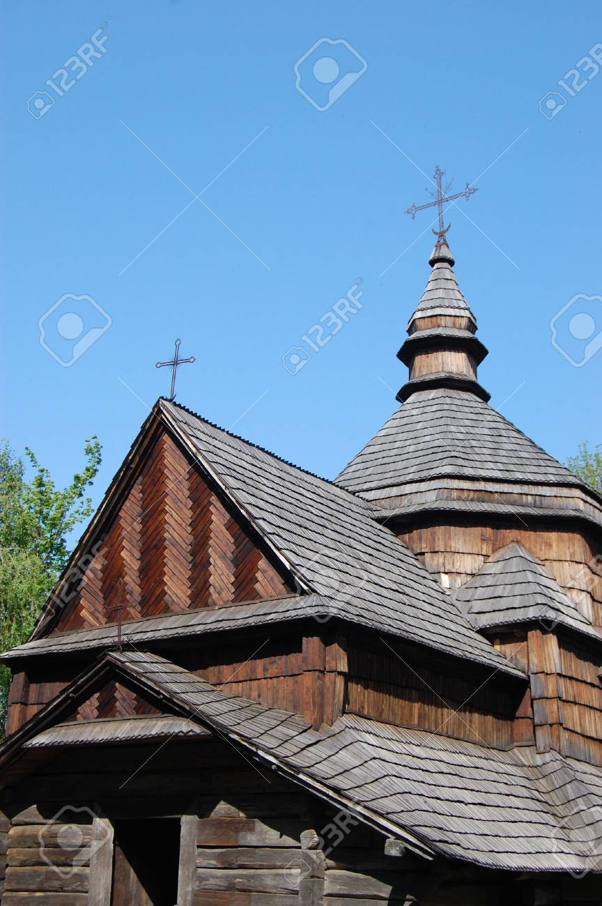 Wooden church in Kiev , Ukraine.Open-air museum Pirogovo Stock Photo - 7697587