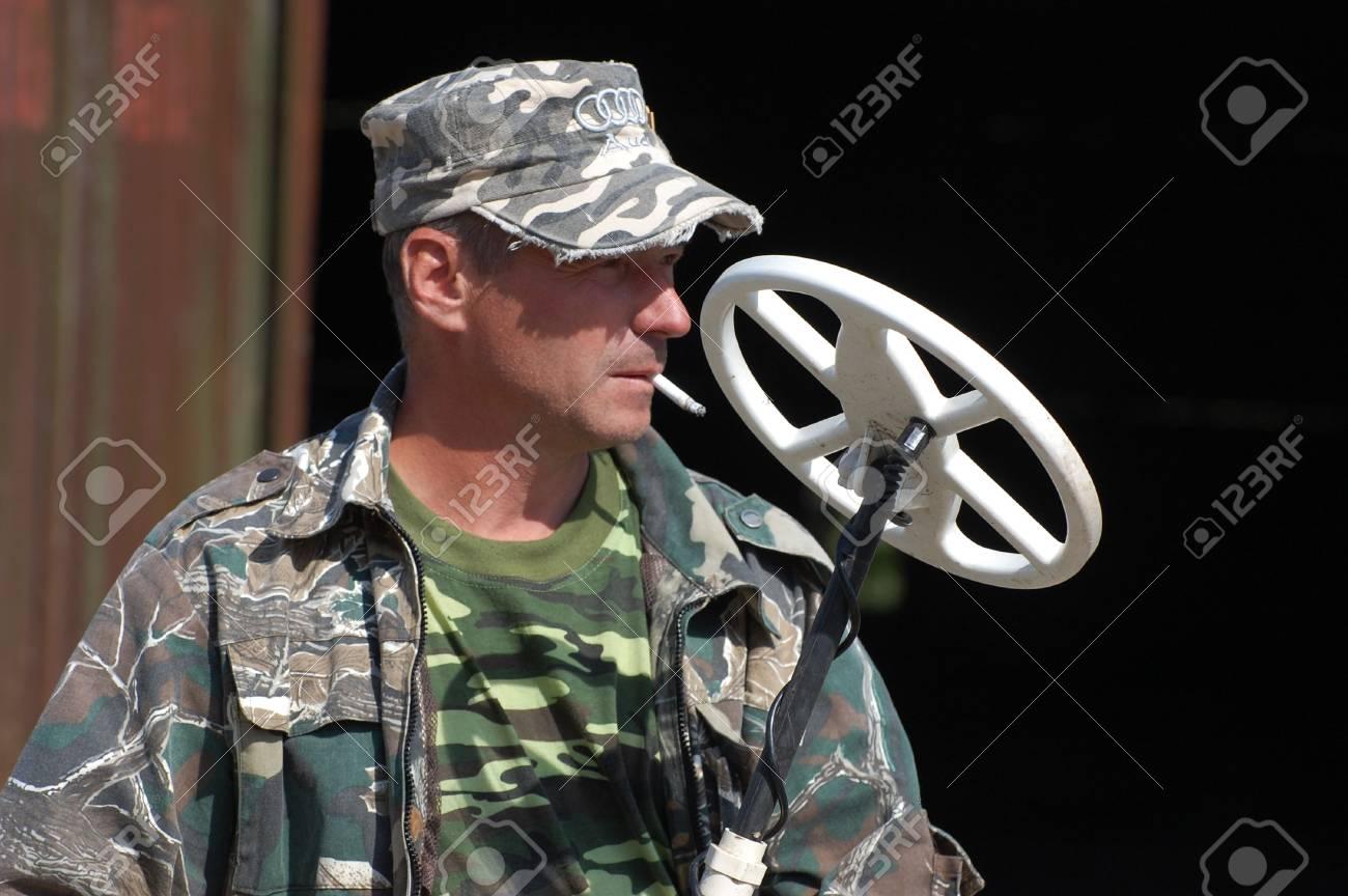 KIEV, UKRAINE - SEP 11: Member of Ukrainian Federation of Metal Searchin Sport on the First Ukrainian Competition of Treasure Hunting, September 11, 2010 in Kiev, Ukraine  Stock Photo - 7738983
