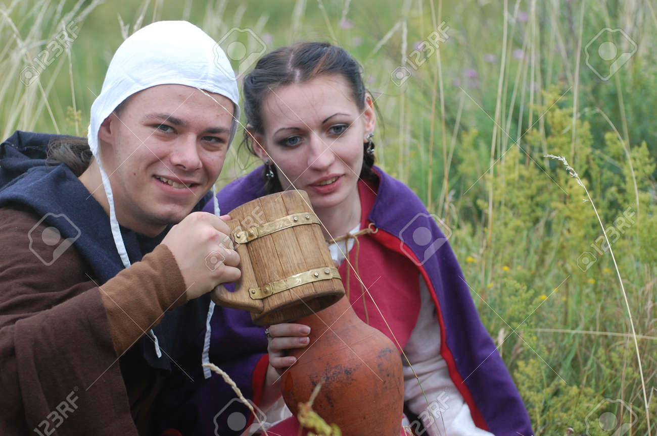 KIEV, UKRAINE - JULY 31: Members of history club wears historical medieval costume as they participates in historical festival and camp July 31, 2009 in Kiev, Ukraine.  Stock Photo - 8410142