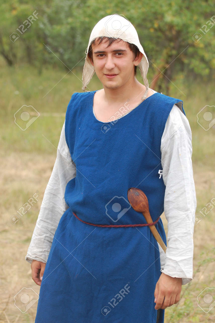 KIEV, UKRAINE - JULY 31: Member of history club Golden Capricorn wears medieval costume as he participates in historical festival and camp in memory King Vladimir July 31, 2009 in Kiev, Ukraine  Stock Photo - 8541068