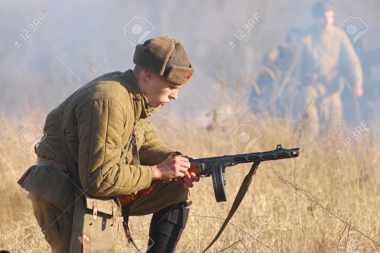 KIEV,UKRAINE. 7 November 2008 Person in Soviet WW2 military uniform. Member of military history club Red Star. Historical military reenacting Kiev ,Ukraine. 7-9 November 2008  Stock Photo - 9004059