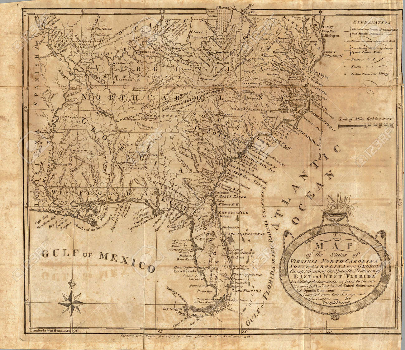 America  Old Map Stock Photo Picture And Royalty Free Image - Old maps of america
