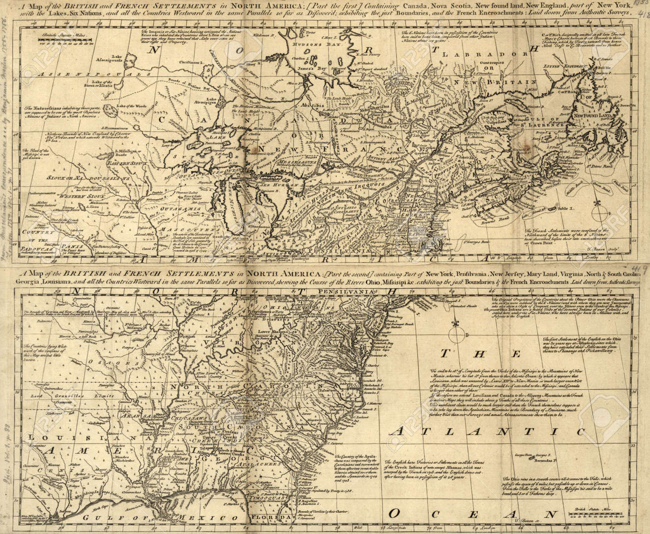 British America Old Map Stock Photo Picture And Royalty Free - Old maps of america