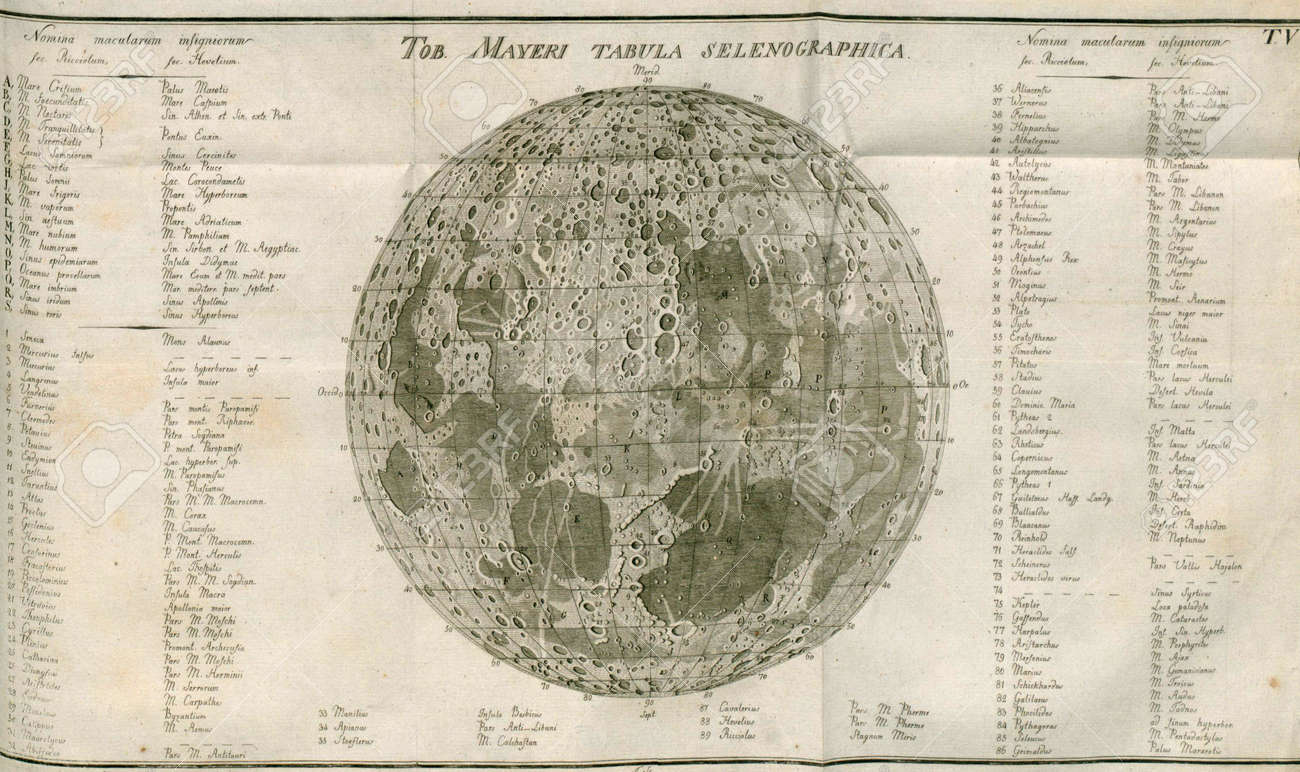 Map Of The Moon, Vintage Stock Photo, Picture And Royalty Free Image ...