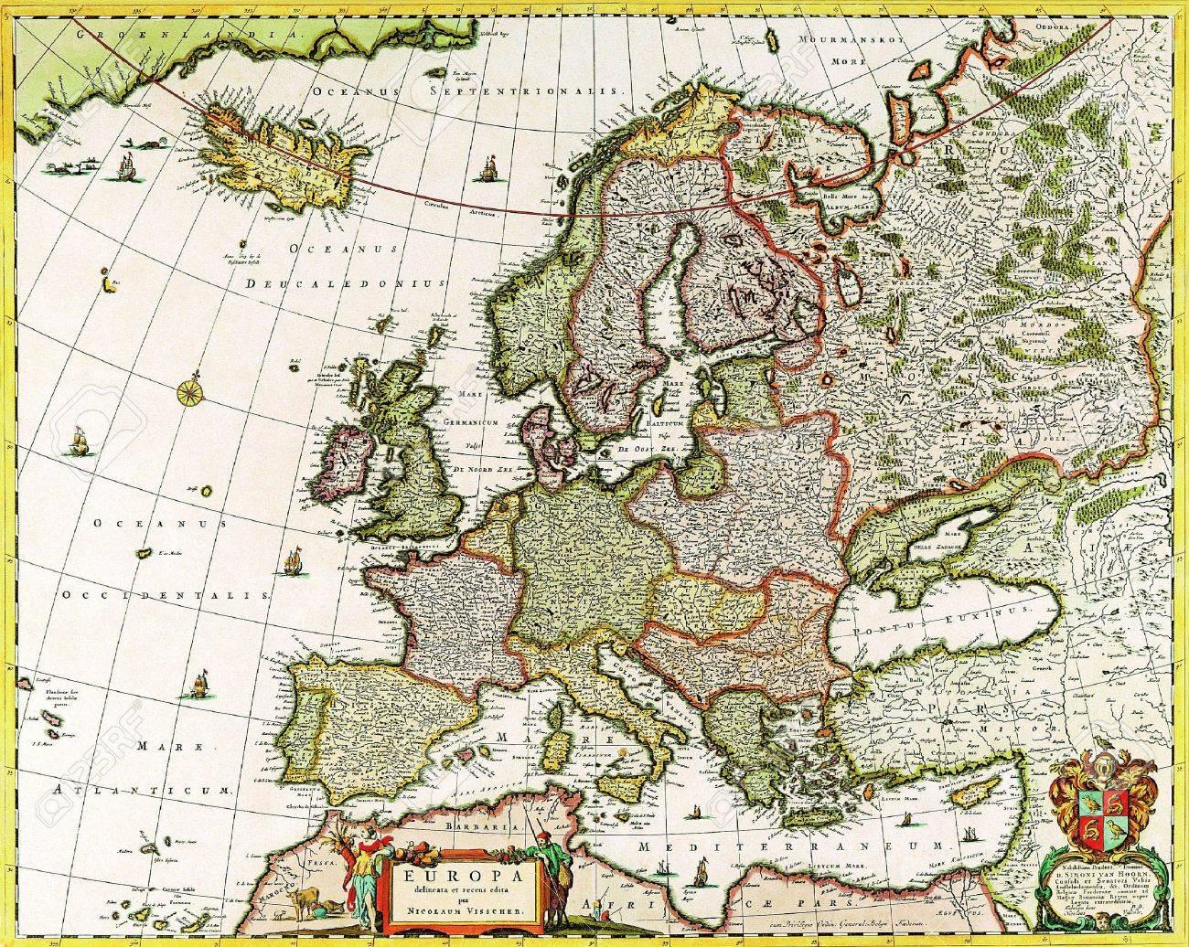 Stare geografske mape i karte - Page 6 18321379-Europe-old-map-1640-Stock-Photo