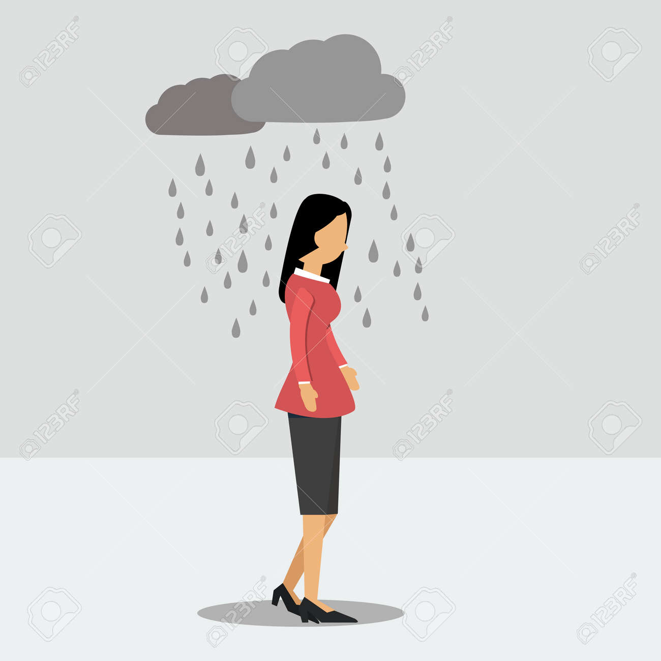 Vector illustration. Walking woman in depression in the rain - 47541701