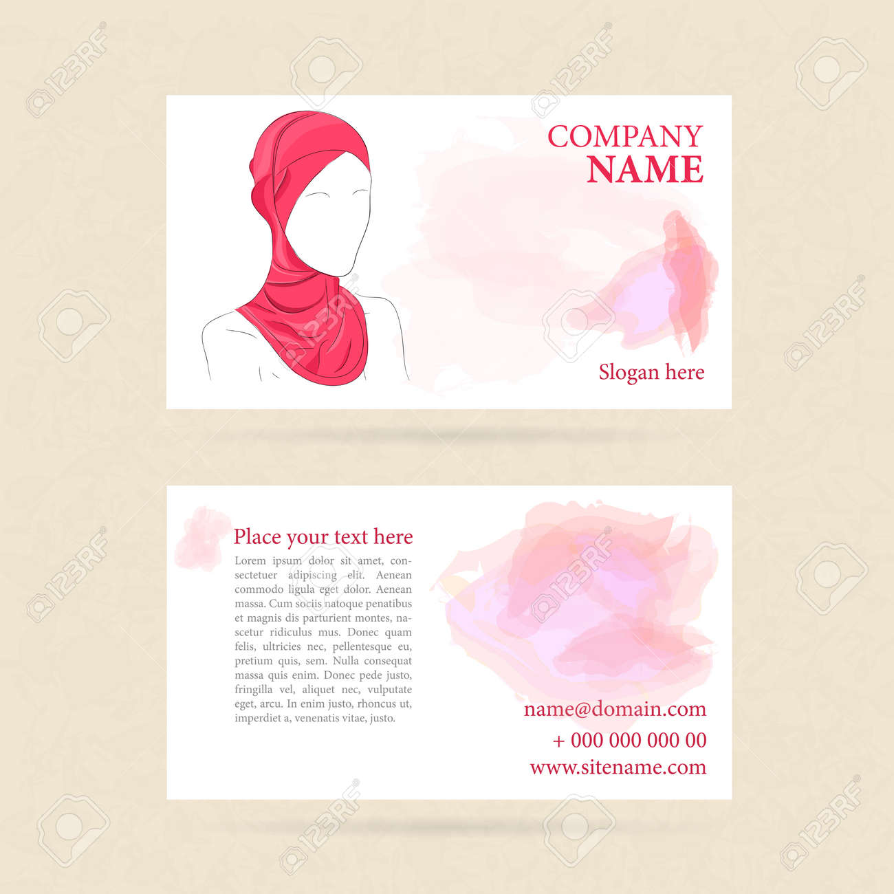 Illustration Of Business Card With Woman In Turban Or Hijab Watercolor On Background Template
