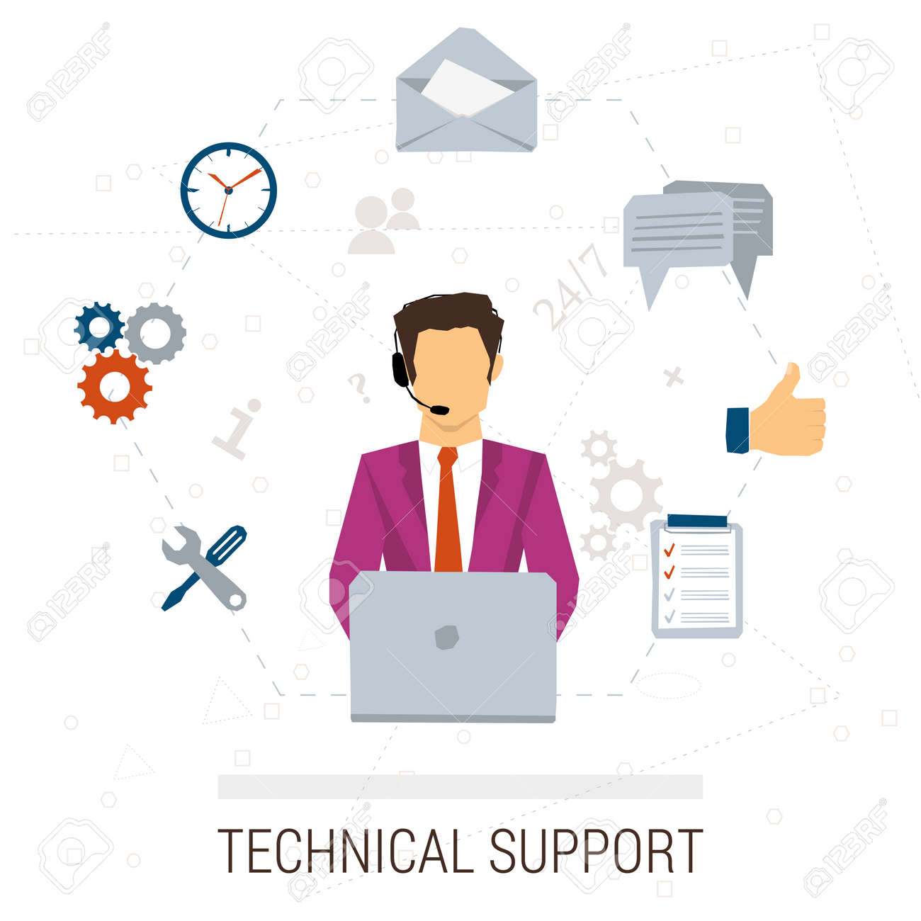 Vector Concept Of Technical Support Or Call Center. Male Operator ...
