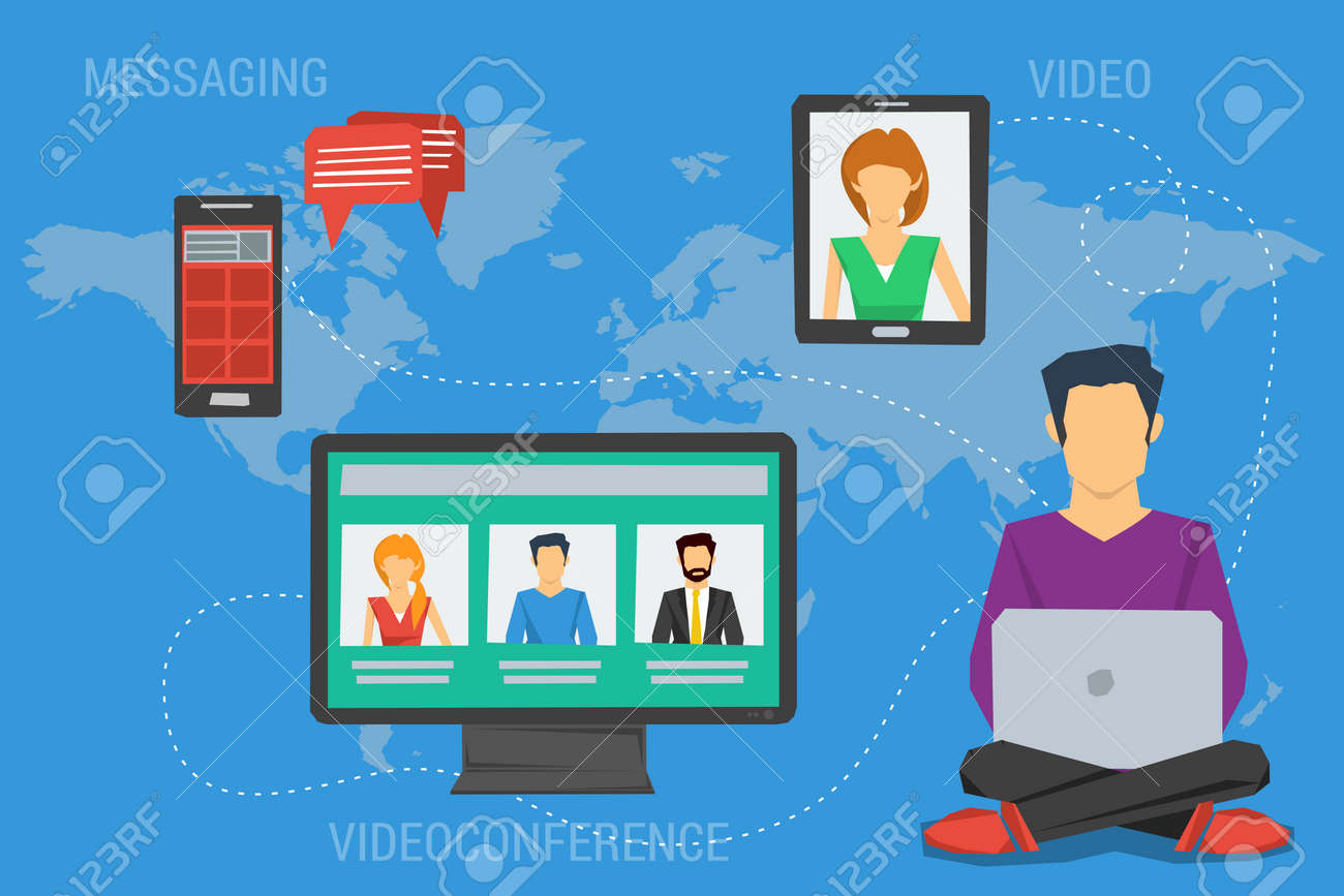Vector concept Internet communication, webinar online training education, professional online lectures. Flat style. Messaging, video conversations, conference chat, distance learning. Web infographics - 51009065