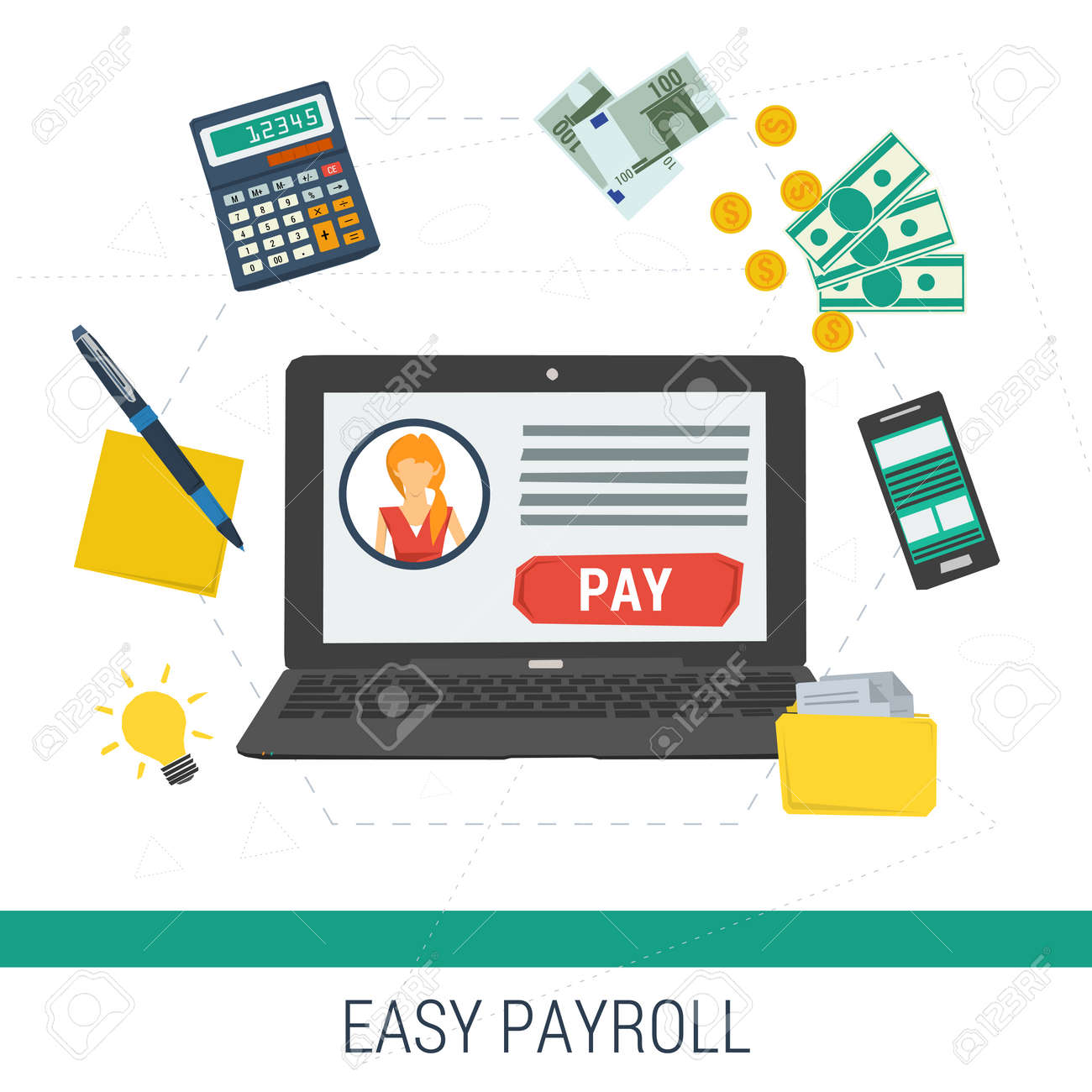 vector concept easy online payroll operation laptop with account