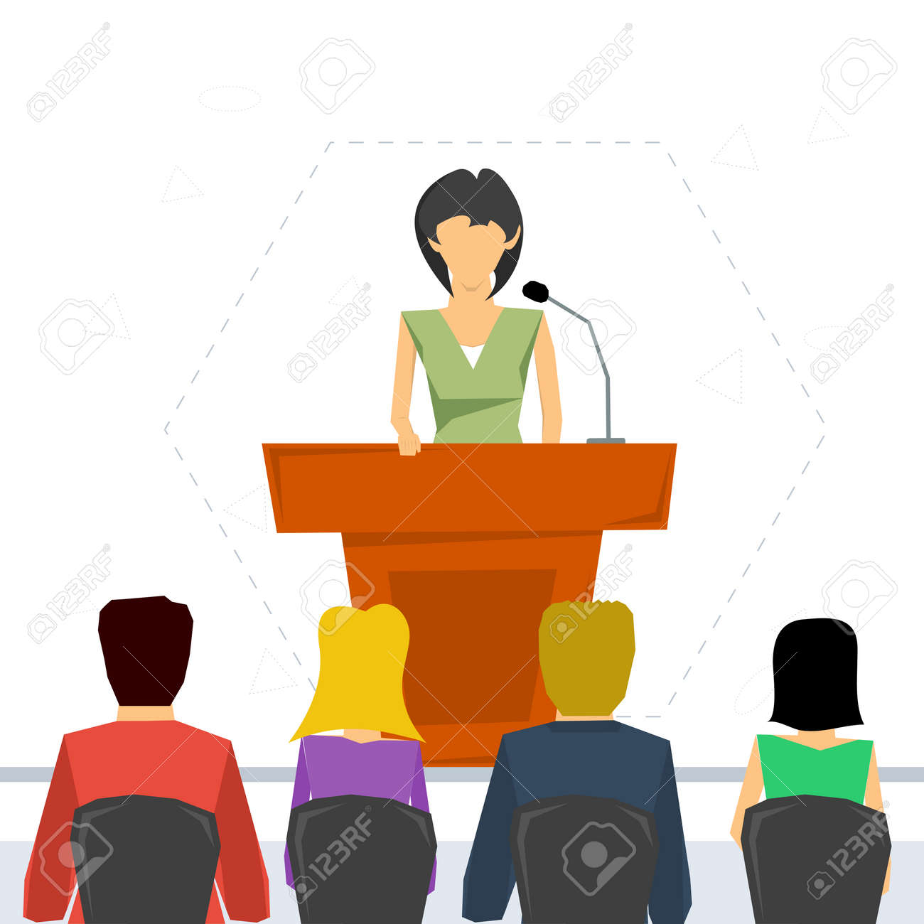 Vector concept public speaking and business conference. Woman orator speaking from tribune and listeners in auditorium on chairs. Flat style. Web infographics - 51915410