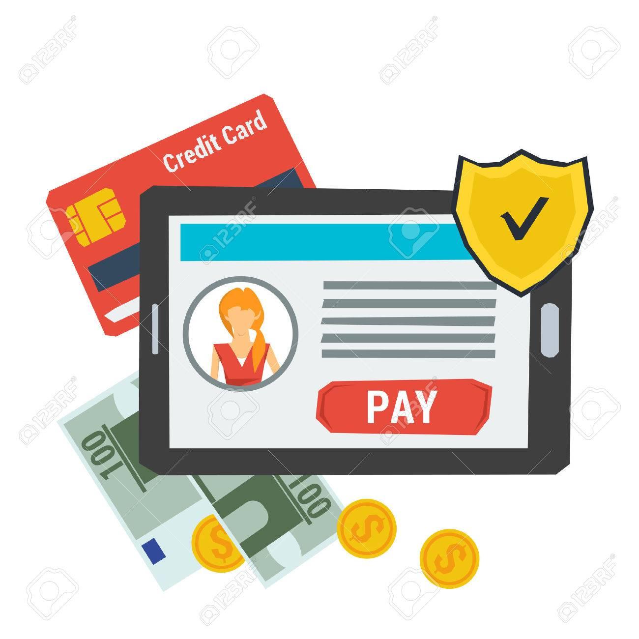 Konzept Einfache Online-Zahlung. Symbol. Tablet Mit Konto Und Knopf ...