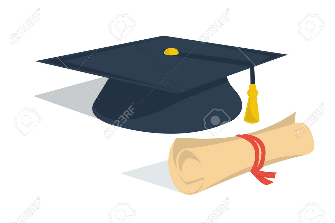 vector isolated illustration student hat and diploma roll design  vector isolated illustration student hat and diploma roll design clipart for concept distance online education