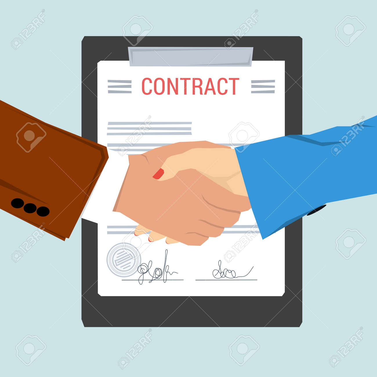 Vector Concept Contract, Agreement. Man And Woman Shaking Hands On  Background Of Signed Document