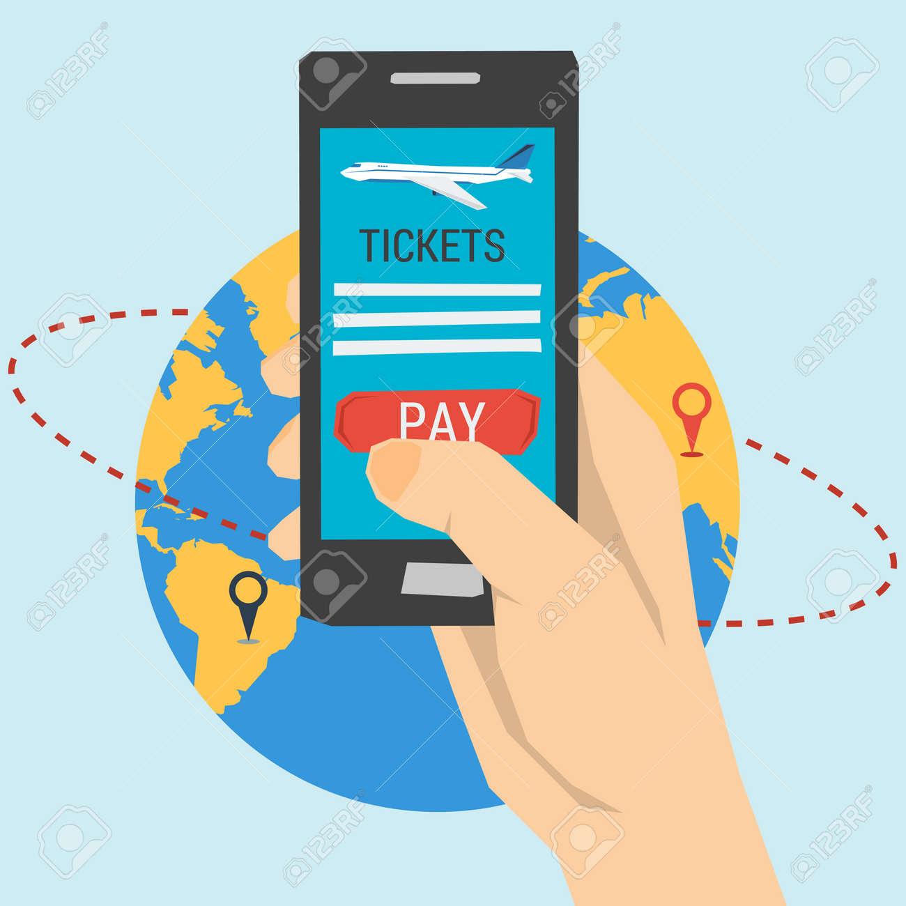 Vektor-Konzept Tickets Online Bestellen. Einfache Buchung Von Flügen ...