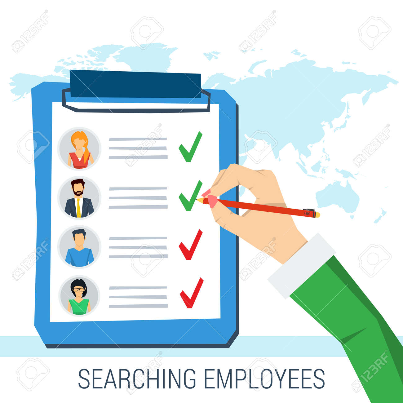 vector concept employee search list candidates to work vector vector concept employee search list candidates to work photos and skills description hand pen picking business person list of