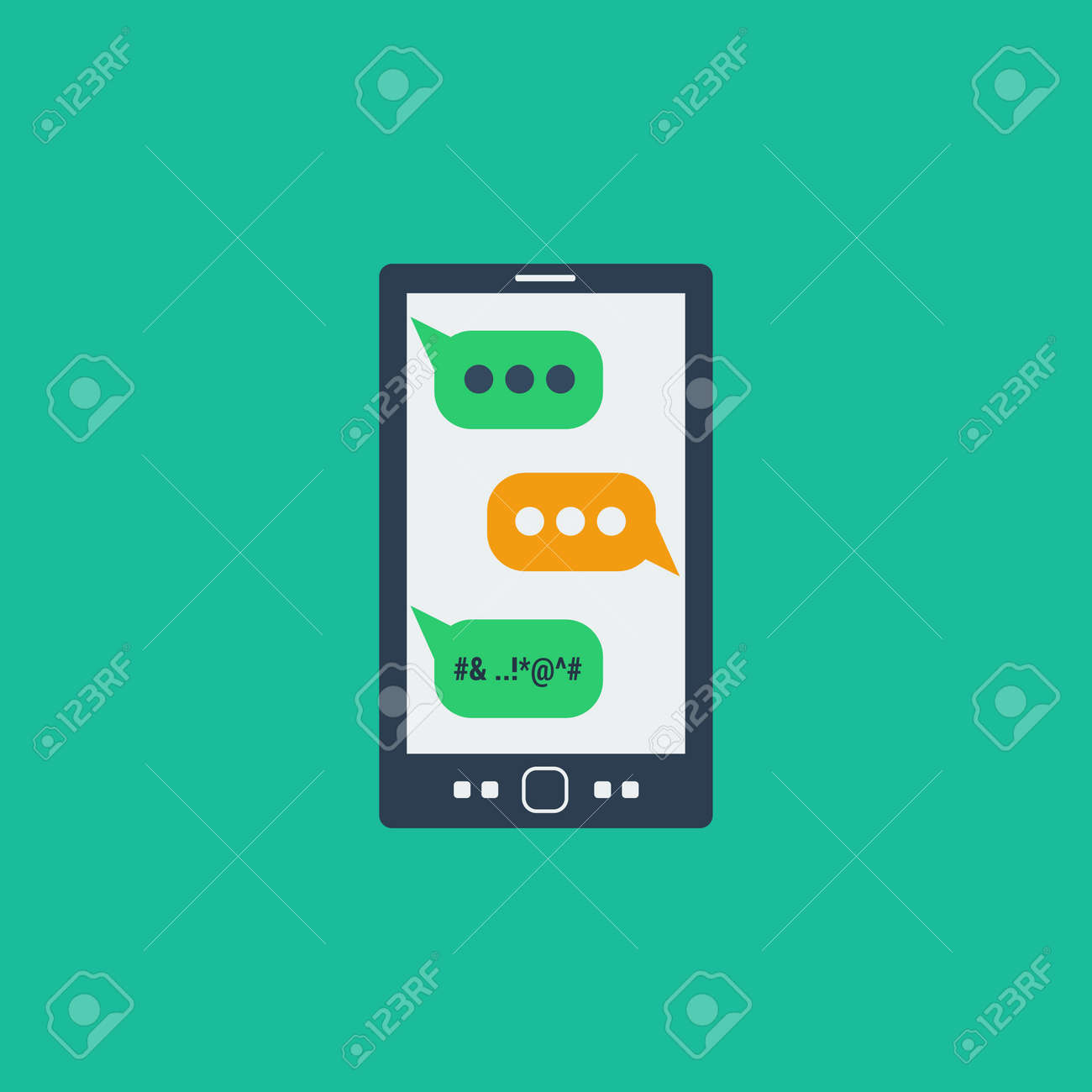 Concept Bad vector cyberbullying concept bad sms on screen smartphone