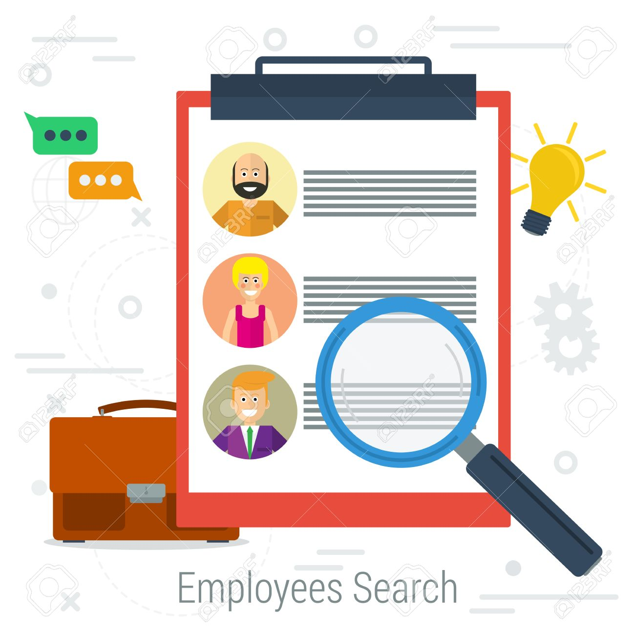 vector flat concept employee search list candidates to work list candidates to work photos and skills description zoom magnifying glass picking business person list of requirements web infographics