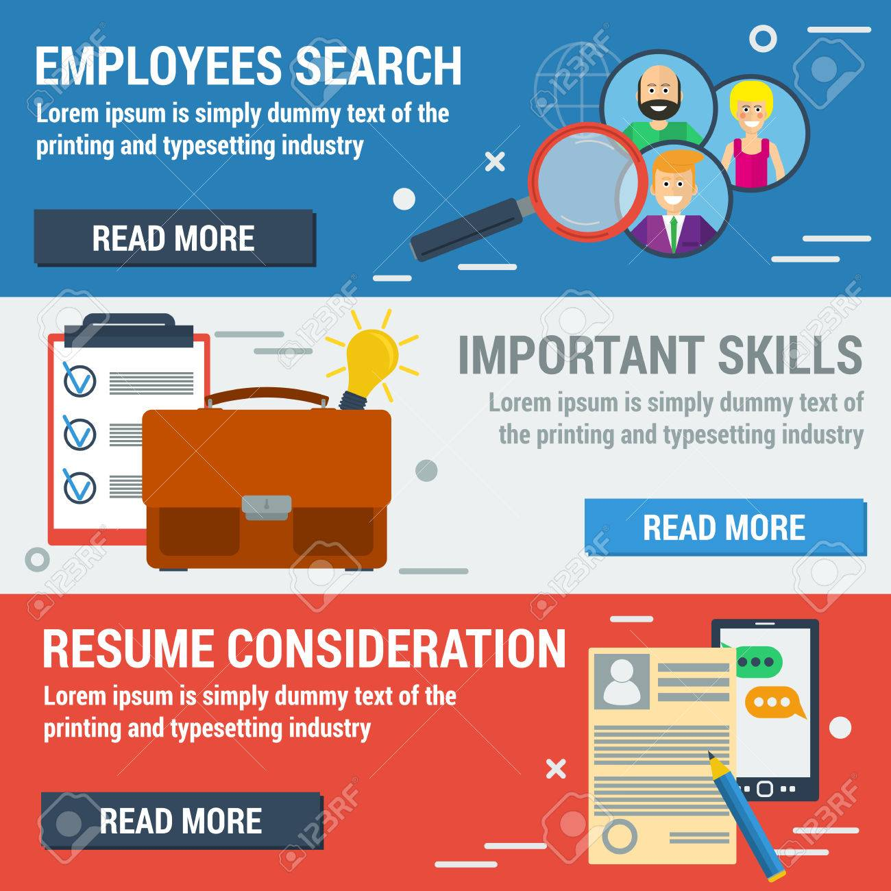 Vector Flat Banners Employee Search. List Candidates To Work ...